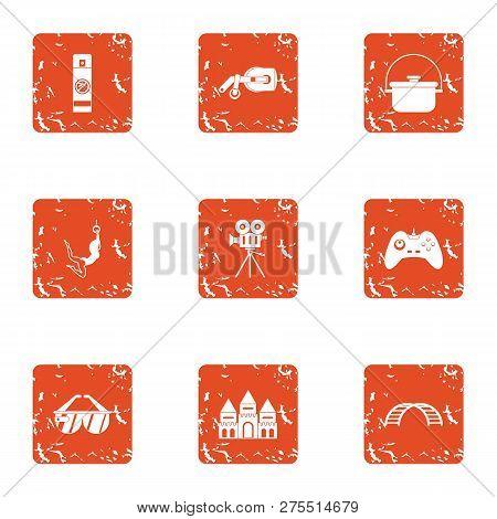 Short Film Icons Set. Grunge Set Of 9 Short Film Icons For Web Isolated On White Background