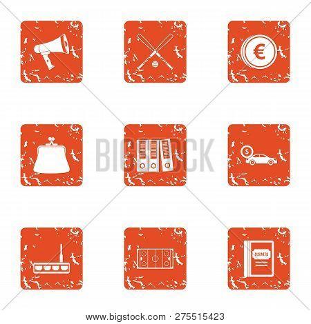 Explanation Icons Set. Grunge Set Of 9 Explanation Icons For Web Isolated On White Background