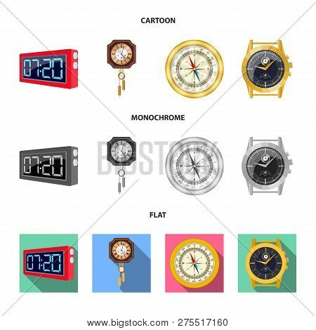 Vector Design Of Clock And Time Symbol. Set Of Clock And Circle Stock Vector Illustration.