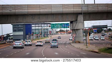 Johannesburg, South Africa - January 6, 2014: Modern Road Infrastructure Of Johannesburg. Traffic. V