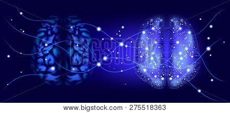 Artificial Intelligence (ai), Cyber Mind And Machine Learning. Big Data Analysis, Human Brain Study.
