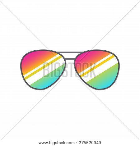 Glasses Heart Shape For Photobooth, Photo Props Design. Cartoon Glasses For Selfie Apps. Vector Isol
