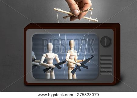 Fake News On Tv. Concept Of War. People With Weapons, Armed Protest, Terrorists. The Puppeteer Contr