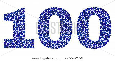 Vector Dot 100 Text Isolated On A White Background. 100 Mosaic Name Of Circle Dots In Various Sizes.