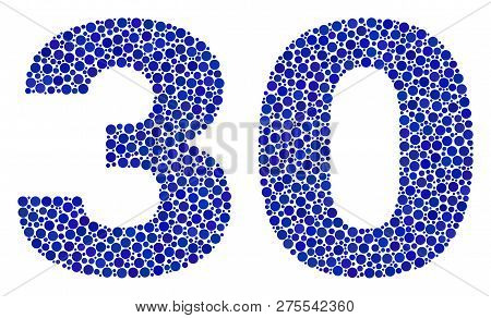 Vector Dot 30 Text Isolated On A White Background. 30 Mosaic Caption Of Circle Dots In Various Sizes