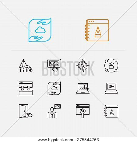 Search Icons Set. Ppc And Search Icons With Seo Consulting, Email Marketing And Seo Optimization. Se