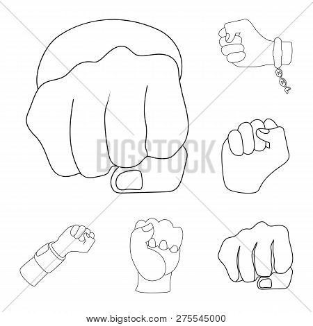 Vector Illustration Of Fist And Punch Icon. Set Of Fist And Hand Vector Icon For Stock.