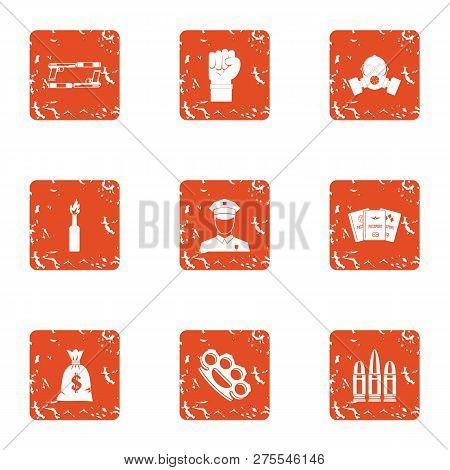 Revolt Icons Set. Grunge Set Of 9 Revolt Icons For Web Isolated On White Background