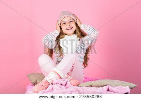 Child Long Hair Warm Woolen Hat Enjoy Warm. Warm Clothes Concept. Warm Accessories That Will Keep Yo