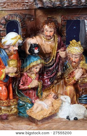 Christmas Crib. Nativity scene with the holy family and Jesus in the manger. poster