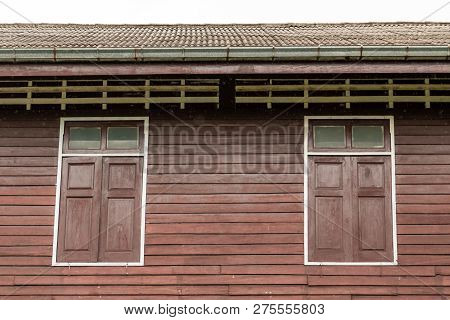 Vintage Building And Windows Made From Wood.