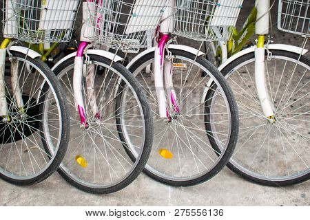 Public Bycicles For Rent Parked Close Up.