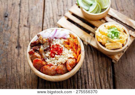 Original  Thai Food.  Shrimp Fried Rice Close Up.