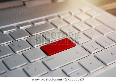 Keyboard With Red Blank Enter Button Modern Pc Text Communication Board. .color Button On The Gray S