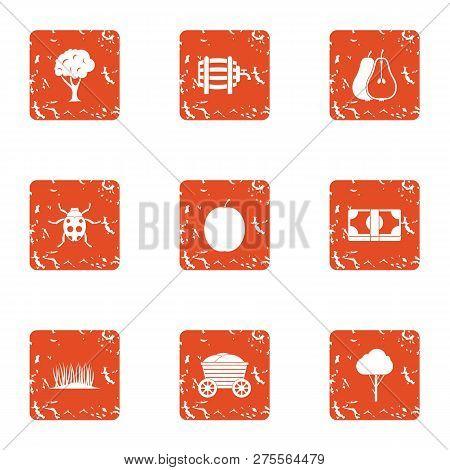 Verdant Region Icons Set. Grunge Set Of 9 Verdant Region Icons For Web Isolated On White Background