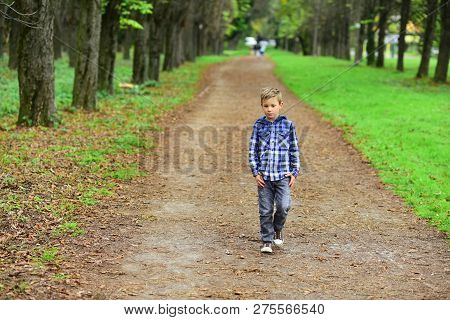 My Perfect Weekend Is Going For A Walk. Small Boy On Pleasant Foot Walk In Park. Small Wanderer. Lit