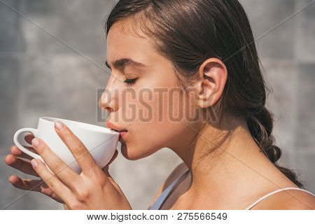 Americano Or Espresso Latte Of Girl. Perfect Morning With Best Coffee. Woman Drink Coffee From Cup.