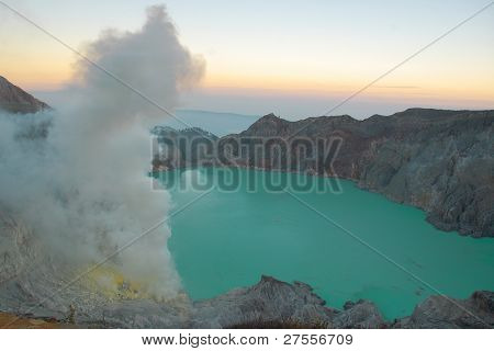 Sulfur lake at Ijen Crater