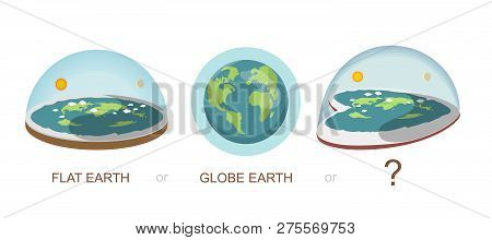 Flat earth , globe, earth, Heart shaped earth, concept illustration. Ancient cosmology model and modern pseudoscientific conspiracy theory. Isolated vector clip art. poster