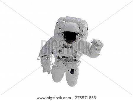Single Space Astronaut With Black Glas On The Helmet Isolated On White Background. Elements Of This