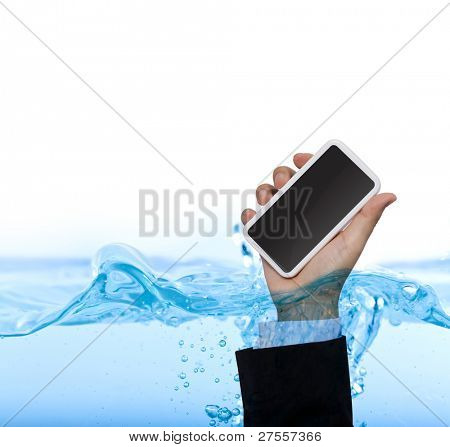 Hand hold phone  in water isolated on white background