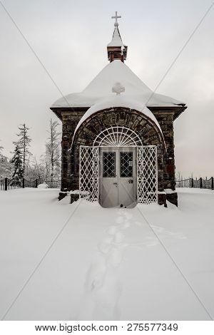 Stone Chapel On Murinkovy Vrch Hill Above Horni Lomna Village In Moravskoslezske Beskydy Mountains O