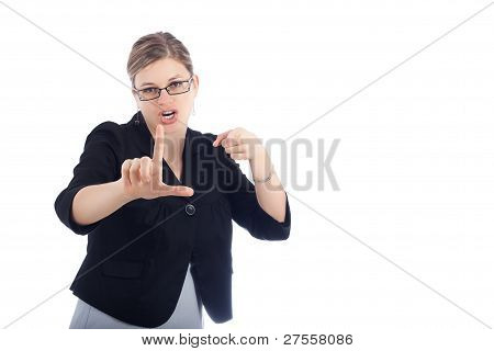 Woman Gesture Loser Sign