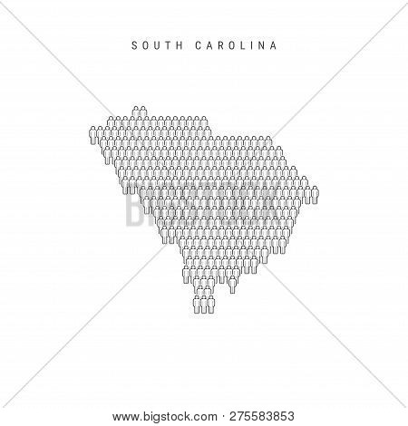 Vector People Map Of South Carolina, Us State. Stylized Silhouette, People Crowd In The Shape Of A M