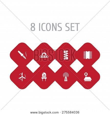 Set Of 8 Technology Icons Set. Collection Of Deployment, Electronic, Mechanical Spring And Other Ele
