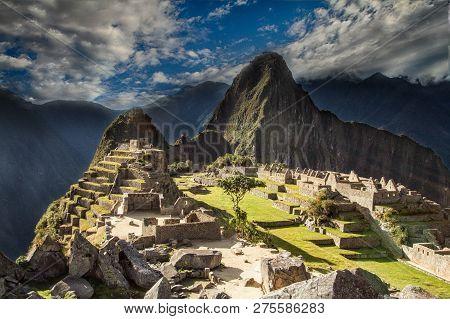 View Of The Lost Incan City Of Machu Picchu Near Cusco, Peru. Machu Picchu Is A Peruvian Historical