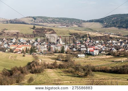 Papradno Village With Smaller Hills Of Javorniky Mountains On The Background Covered By Meadows And