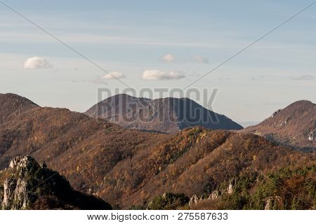 Autumn Sulovske Skaly Mountains With Havrania Skala Mountain Ridge, Maly Manin And Velky Manin Hills
