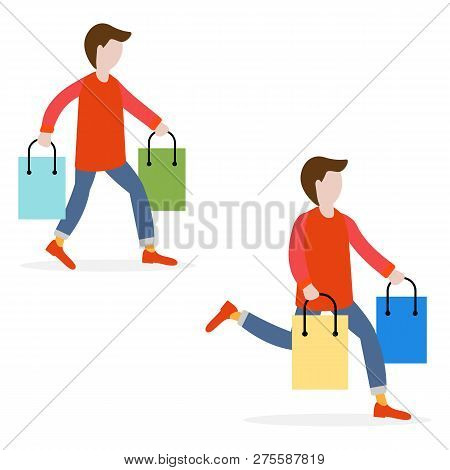 Men Carry Shopping Bags From Sale. Shopping Men. Big Sale. Black Friday. Men Bought Many Gift Bags.