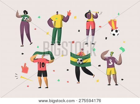 Football Brazil Fan Character Set Illustration. Happy Friend Team Celebrate Brazilian Soccer Nationa