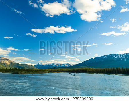 Lake In The Mountains Of Canada, Pristine Nature. Canadian Landscape.