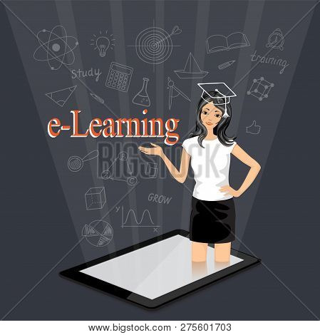 Flat Isometric Modern Design With Word E-learning And Coming Out Girl From The Touchpad. E-learning,