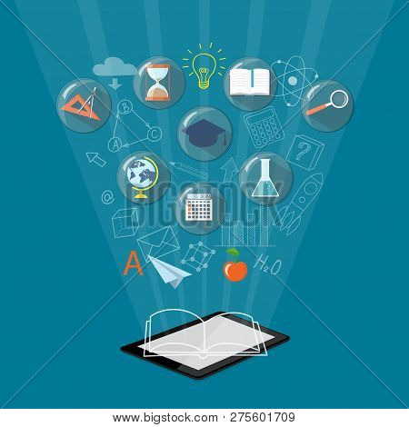 Flat Isometric Modern Design With Computer Tablet. E-learning, E-book, Online Education, Home Educat
