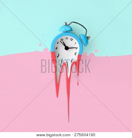 Time Is Running Out. Melted Blue Alarm Clock