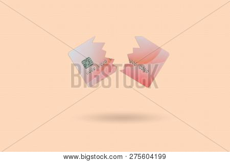 Cut Broken Red Credit Card Isolated On Orange