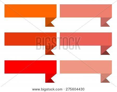 Ribbon Banner On White Background. Ribbon Banner Sign. Flat Colorful Ribbon Banner On White Backgrou