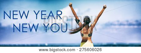 New Year New You Fitness banner background - active lifestyle change woman winner with arms up in success of weight loss achievement.Fit goal concept. Panoramic header.
