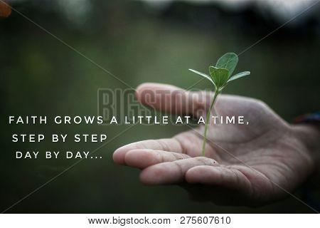 Inspiratinal Motivational Quote-faith Grows A Little At A Time, Step By Step, Day By Day. With One O