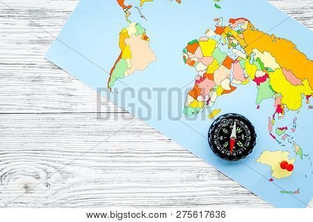 Map Of The World With Compass.Travel Direction Trip Image Photo Free Trial Bigstock