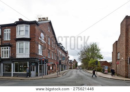 York, England - April 2018: Old Brick Buildings At Street Corner On Monkgate And St Maurice Road In