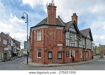 York, England - April 2018: Old Building Of Cross Keys Restaurant And Nicholson's Pubs At Corner On