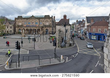 York, England - April 2018: Old Building Of York Art Gallery At Exhibition Square On Bootham In Hist