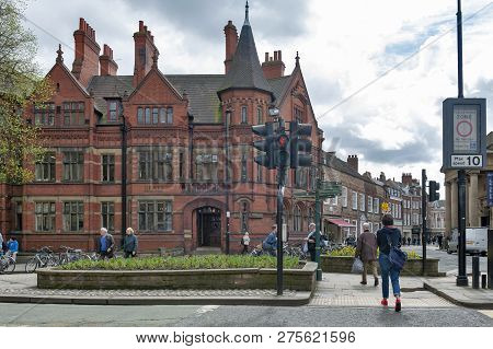 York, England - April 2018: Old Building Of Grays Solicitors Law Firm At Corner Of Duncombe Place An
