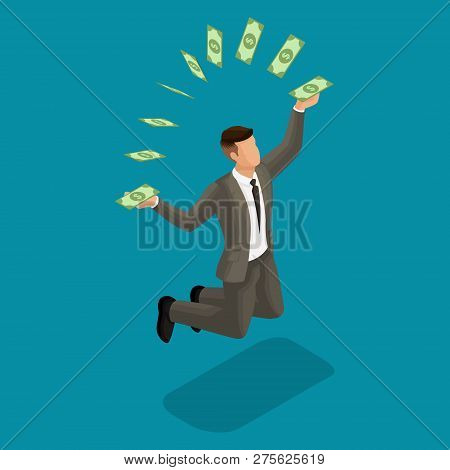 Trendy Isometric People, 3d Businessman, Concept With Young Businessman, Money, Profit, Money Moveme