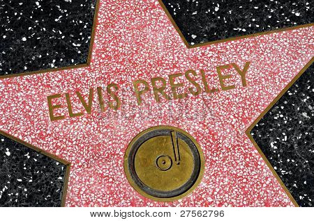 LOS ANGELES - OCTOBER 16: Elvis Presley star in Hollywood Walk of Fame on October 16, 2011 in Los Angeles. Those more than 2,400 five-pointed stars attracts about 10 million visitors annually
