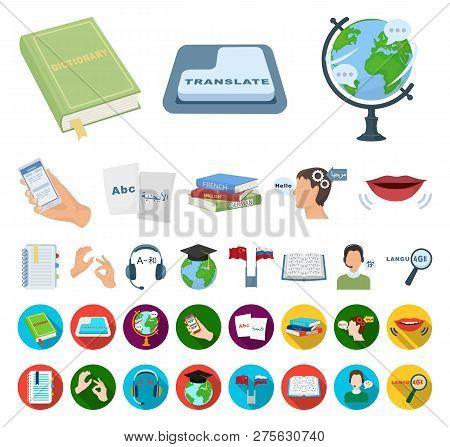 Translator and linguist cartoon, flat icons in set collection for design. Interpreter vector symbol stock web illustration. poster